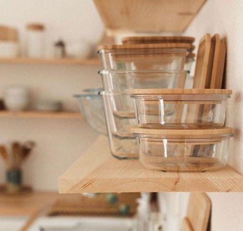 IKEA 365+ Jar with lid - glass/bamboo 112 oz