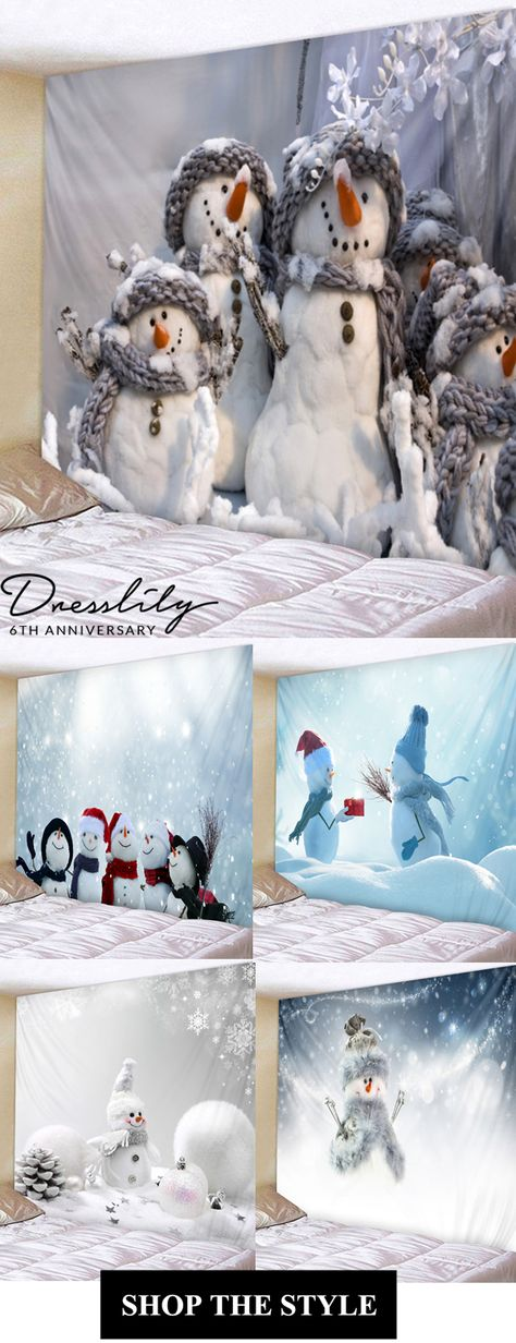 Up to 40% off.Christmas Snowmen Print Tapestry Wall Art. #dresslily #christmas #snowman