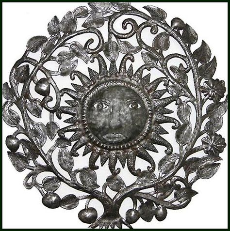"Ornate Steel Drum Metal Art Sun Design - Haitian Oil Drum Wall Decor - 34"" - $159.95 -  Steel Drum Metal Art from  Haiti - Interior Decor or Garden Décor   * Found at  www.HaitiMetalArt.com"