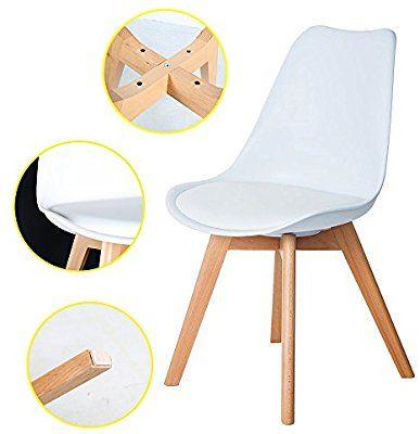 4er Set Esszimmerstühle mit Massivholz Buche Bein, Retro Design - küchenstuhl weiß holz