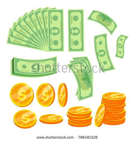 Paper Money And Coins Vector Banknotes Flying Bills Pile Of Cash Flip Different Angles Isolated Flat Cartoon Illustration Paper Money Bank Notes Coins