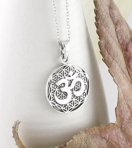 Women/'s sterling silver OM necklace with chain 16 long ohm jewelry yoga boho jewelry universal peace consciousness gift for her