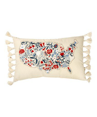 White & Red Floral USA Map Throw Pillow