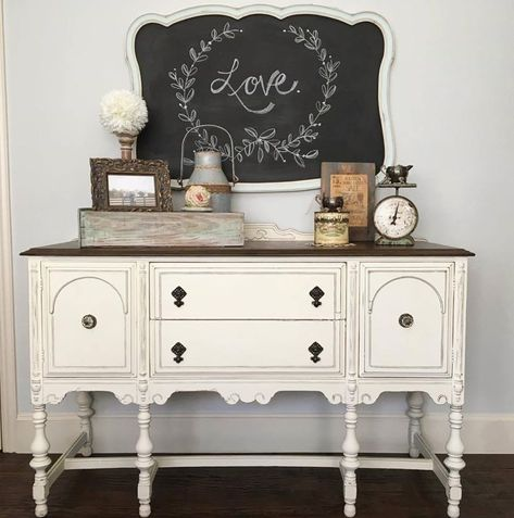 Lovely Buffet in Old White Chalk Paint® decorative paint by Annie Sloan | Project by @jaimea4 on Instagram