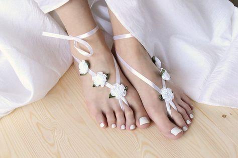 dd3908fabd8 White Barefoot Wedding Sandles with Satin Ribbon Flowers by Elvish ...
