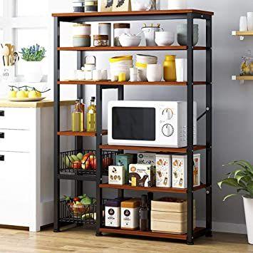 Znmig Durable Metal Frame 6 Tier Utility Storage Shelf Kitchen Baker S Rack Microwave Stand With 2 Wire Home Kitchens Kitchen Design Diy Kitchen Storage Stand