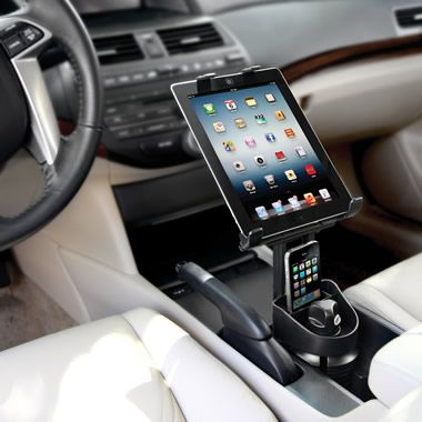 The Automobile iPad Cupholder Mount - Hammacher Schlemmer #Travel #Gear