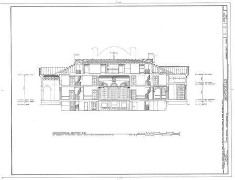 Longitudinal Section B B Thomas Jefferson Monticello Charlottesville Va Habs Va 2 Char Architecture Blueprints Thomas Jefferson Home Architecture Plan