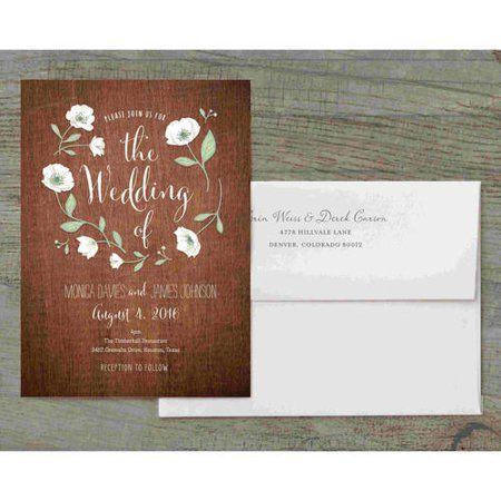 Wedding Flowers Deluxe Wedding Invitation Walmart Com Wedding Invitations Personalised Wedding Stationery Brown Wedding Invitations