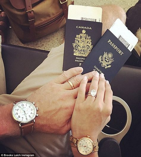 Jetting off: The Canadian ice hockey player posted this pic of he and his wife's passports...