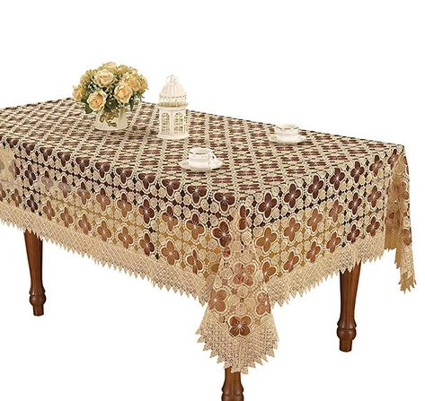 Simhomsen Embroidered Burgundy Lace Tablecloths For Dining Table
