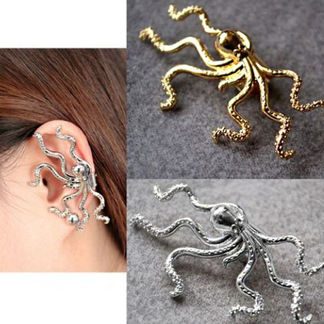 2d12586ce Nautical marine punk style big octopus ear cuff clip earring - silver or  golden.
