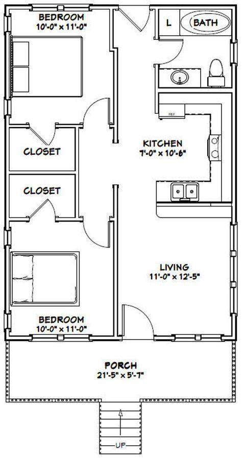 22x32 House -- 2-Bedroom 1-Bath -- 704 sq ft -- PDF Floor Plan -- Instant Download -- Model 1C