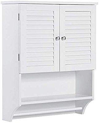 Amazon Com Choochoo Bathroom Medicine Cabinet 2 Door Wall Cabinet Wood Hanging Cabinet With Ad In 2020 Small Bathroom Cabinets White Bathroom Cabinets Hanging Cabinet