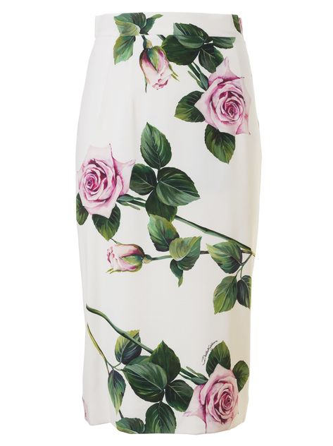 Dolce & Gabbana Floral Print Pencil Skirt In Panna