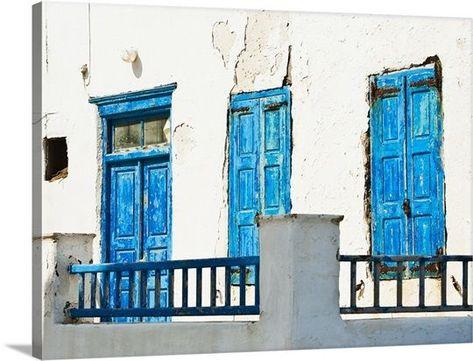 Greece, Cyclades Islands, Mykonos, Old blue doors Gallery-Wrapped Canvas