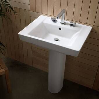 Comprimo Vitreous China 22 Semi Pedestal Bathroom Sink With