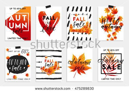 Collection of autumn sale and other typography flyer template with - typography flyer