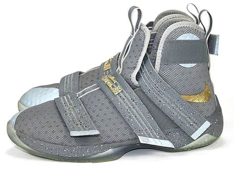 ea58e1a3812 Nike Lebron Soldier X 10 Size 6.5Y Basketball Shoes James 845121-010 gray  gold  fashion  clothing  shoes  accessories  kidsclothingshoesaccs   unisexshoes ...