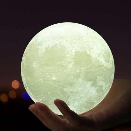 Usb Rechareable 3d Printing Moon Led Night Light Lamp With Wooden Stand 7 09 In Diameter White Led Night Light Moon Globe Rechargeable Lamp