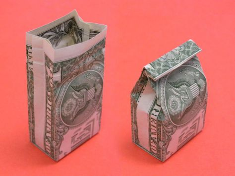 The World's Best Photos of origami and orikane Dollar Origami, Origami Easy, Origami Boxes, Origami Paper, Origami Tooth, Origami Instructions, Origami Tutorial, Wallet Tutorial, Folding Money
