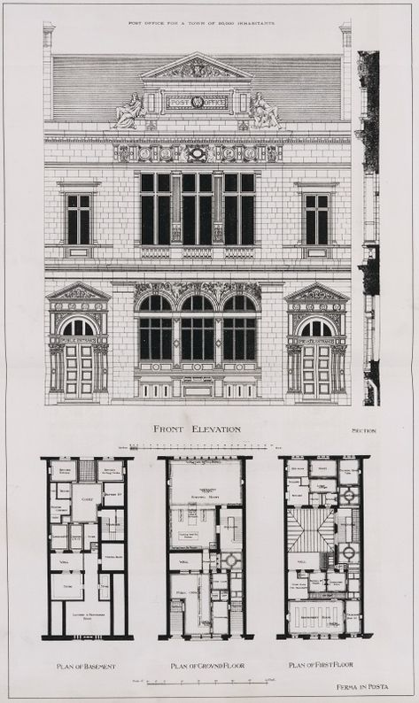 Elevation and floor plans of a hotel particulier, Tours Фасад - frais annexes construction maison3