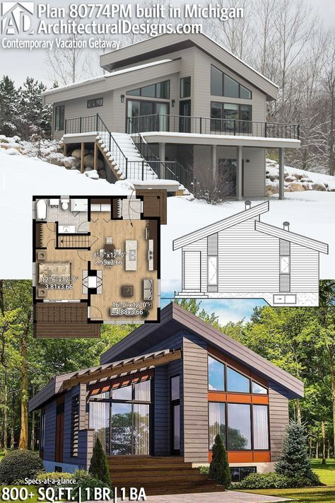 Plan 80774pm Contemporary Vacation Getaway Tiny House Plan Architecture House House Plans