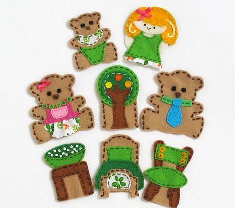 Goldilocks - set of 8 wool felt finger puppets