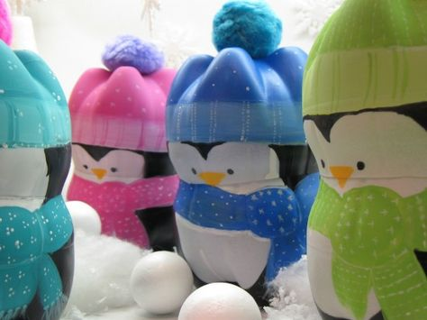 plastic drink bottles to cute penguins
