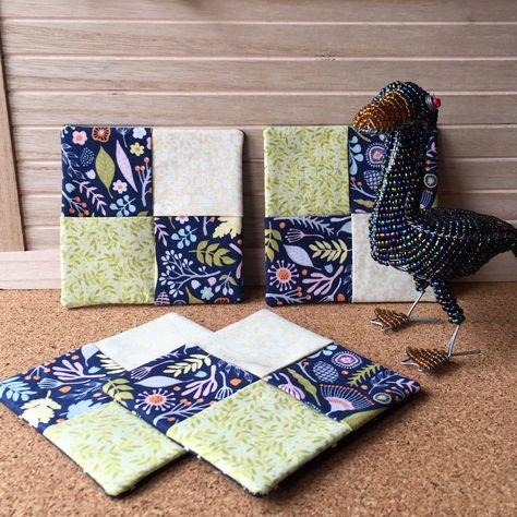 Set of 4 fabric coasters quilted Zebra Print