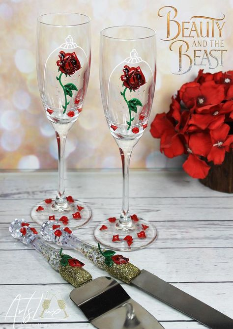 Beauty and the Beast Enchanted Rose wedding set-Red roses Beauty And The Beast Theme, Beauty And Beast Wedding, Red Rose Wedding, Wedding Sets, Dream Wedding, Enchanted Rose, Wedding Toasts, Toasting Flutes, Handmade Wedding