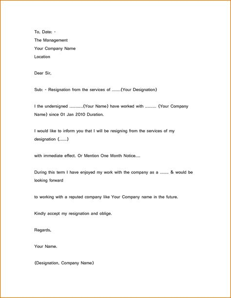 Simple Resignation Letter Sample 1 Month Notice New Calendar - temporary resignation letter