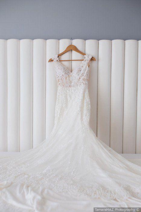 Stunning Fit And Flare Wedding Dress Lace Detailing V Neck Hanging Dress Photo Tamara Fall Wedding Dresses Wedding Gown Styles Top Wedding Dress Designers