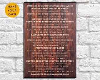 Rustic Wedding Gift Song Lyric Wood Wall Art Custom Poem Print Gift For Men Gift Fo Wood Anniversary Gift 5 Year Anniversary Gift Anniversary Gifts For Husband