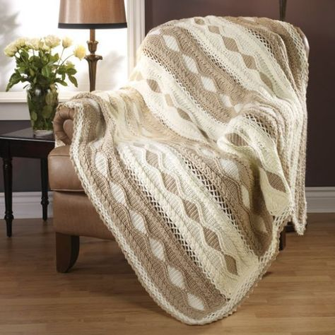 Coffee & Cream Diamonds Throw - Second place winner! Designed by Jill Wright. This beautiful neutral colored diamonds afghan will match any decor. Kit to crochet includes Caron Simply Soft yarn.