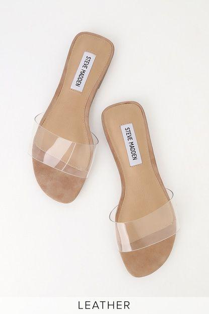Bev Clear Vinyl Slide Sandals   Steve