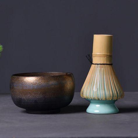 Gold Ceramic and Bamboo Traditional Matcha Set - Gold