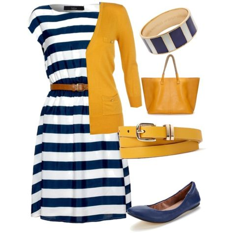 A fashion look from March 2014 featuring cap sleeve dress, mustard yellow cardigan and studded flats. Browse and shop related looks.