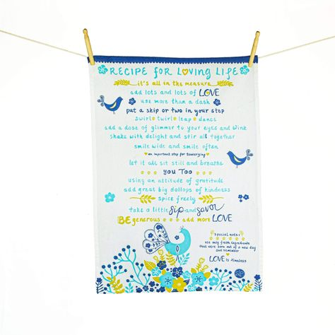 """SIP """"Recipe For Loving Life"""" Kitchen Towel. Unique Kitchen Towel designed to remind one to LOVE life! Super size 20 x 30"""" Pattern Style: text and primitive style art Color: aqua, mustard and navy 100% Organic Cotton Kitchen Towel, with beautifully mitered corners and thoughtful hanging loop. Long lasting color."""