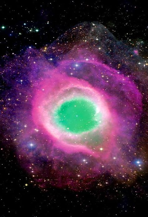 Space - Community -   The #HelixNebula is an example of a planetary nebula, or 'planetary' formed at the end of a star's evolution. Gases from the star in the surrounding space appear, from our vantage point, as if we are looking down a helix structure. The remnant central stellar core, known as a planetary nebula nucleus or PNN, is destined to become a white dwarf star. The observed glow of the central star is so energetic that it causes the previously expelled gases to brightly fluoresce.