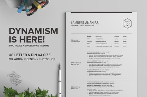 2 Pages Resume CV Pack - Lambert by SNIPESCIENTIST on Creative - resume 2 pages