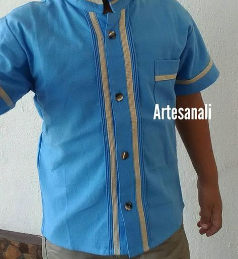 aae79bf40685f Mexican Boho Tribal boys Shirt/Mexican Guayabera-color Blue- Sizes ...