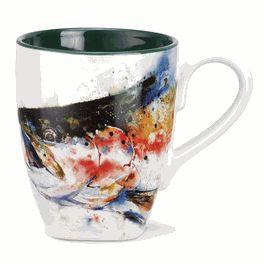 Watercolor Trout Coffee Mug Stoneware Mugs Mugs Fishing Decor