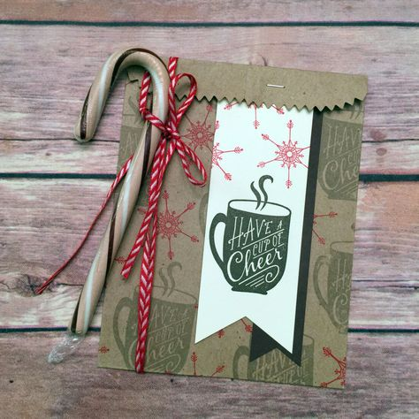 Pouch MS FROSTY COASTER WOpening Hot ChocolateTea Gift Holder Stocking Stuffer Handmade Package Tag Gift CardMoney Holder