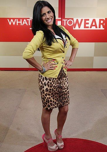 Mustard cardigan & leopard print pencil skirt (What Not To Wear makeover outfit)