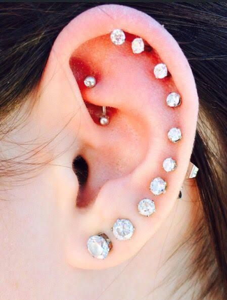 This This Is What I Want Full Ear Piercings Silver Ear Jacket Bar Stud Earrings