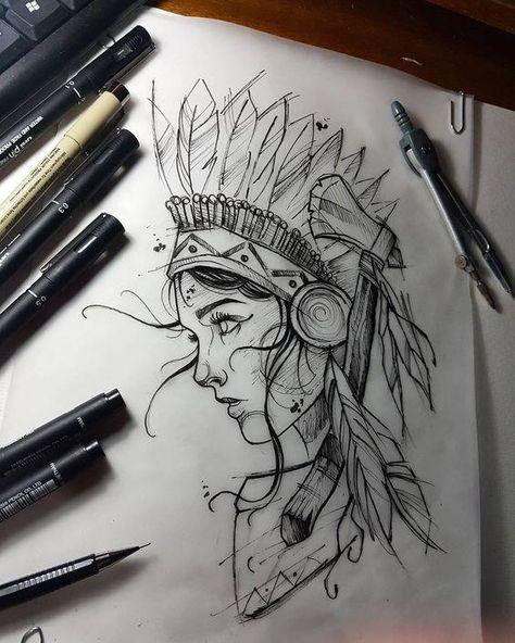 Girl tattoo sketch – #Girl #samurai #sketch #tattoo