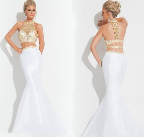 Two Pieces White Prom Dress,Beading Halter