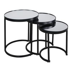 Details About 3 Piece Round Nesting Coffee Table Black Coffee