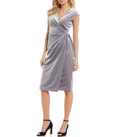 efe19aacea5 Maggy London Velvet Wrap Waist Dress  Dillards